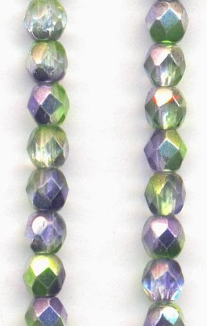 4mm Metallic Peridot/Amy Glass Beads