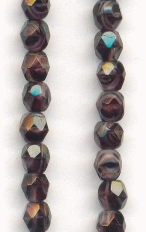 4mm Deep Amethyst/Light Amy Glass Beads