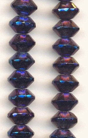 11x7mm Vitrail Faceted Glass Bead