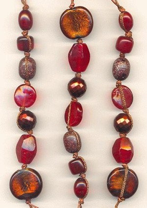 Red, Rust, Copper Beaded Strands