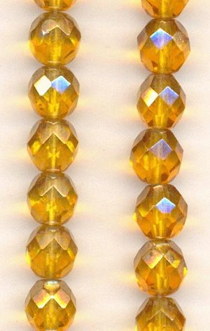 7.5mm Faceted Topaz Luster Glass Bead