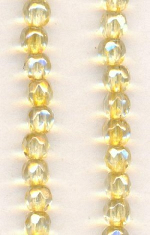3mm Light Topaz Faceted Glass Beads