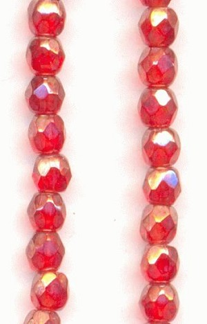 3mm Ruby Luster Faceted Glass Bead
