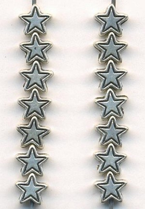 6mm Ant Silver Metallized Plastic Star