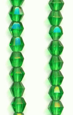 4mm Green Bicone Beads