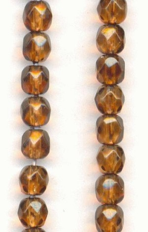 4mm Smoked Topaz Faceted Glass Beads