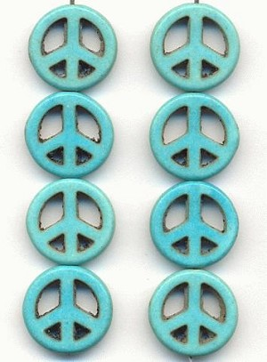 15mm Turquoise Magnesite Peace Beads