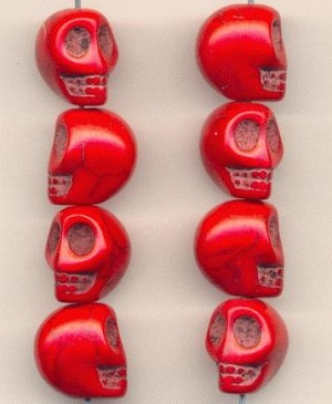 13x10mm Bright Red Magnesite Skull Beads