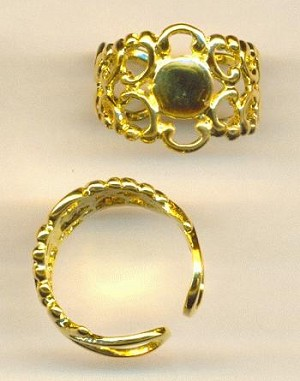 16mm Gold Plated Filigree Ring w/Pad
