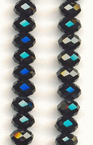 6x4mm Jet Luster Faceted Rondelles