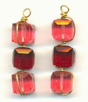 34x8mm Rose/Siam Glass Cube Bead Drops