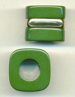 29x24mm Square Plastic Green Beads