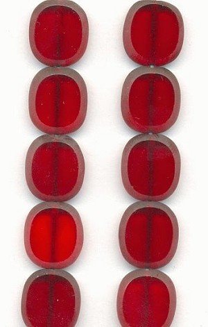 14x12mm Siam Ruby Oval Window Beads