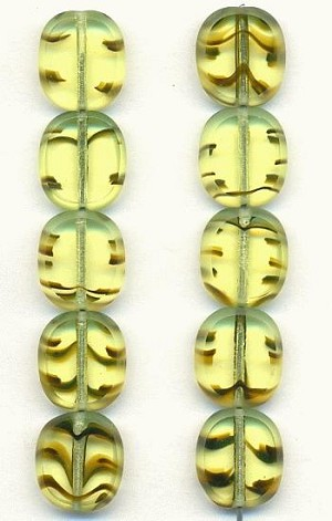 13x12mm Olive/Black Oval Window Beads