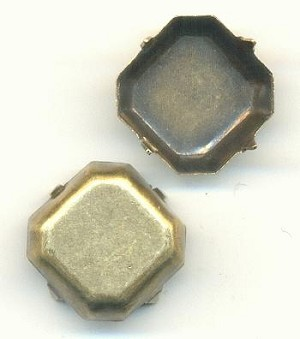14mm Antique Brass Sq Oct Settings CB