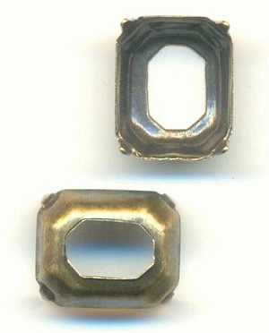 10x8mm Antique Brass Oct Settings OB
