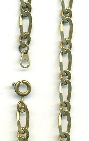18'' by 5.5mm Antique Brass Figaro Chain