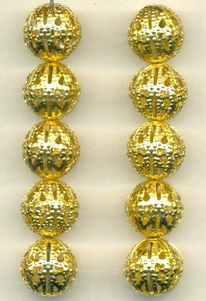13mm Brass Filigree Beads