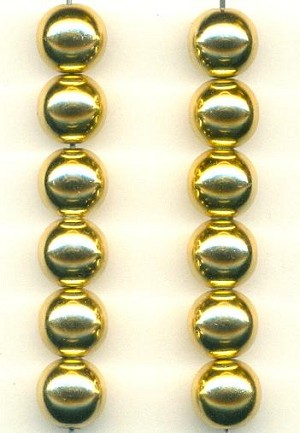 10mm Metalized Glass Gold Bead