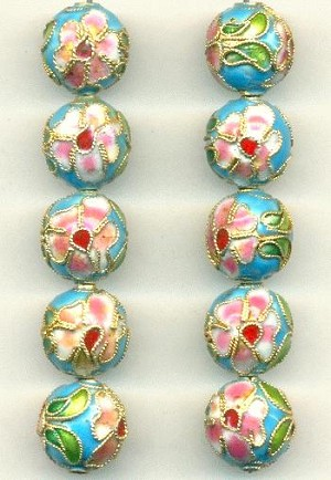 12mm Turquoise Cloisonne' Beads