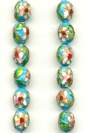 9x7mm Turquoise Cloisonne' Beads