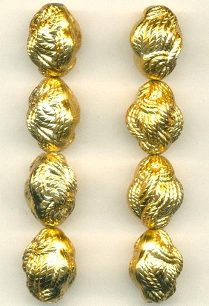 18x14mm Gold Plated Plastic Rope Bead