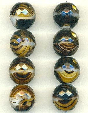 17mm Brown Givre Glass Beads