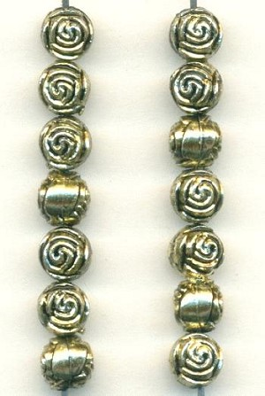 6mm AS Metalized Plastic Swirled Beads