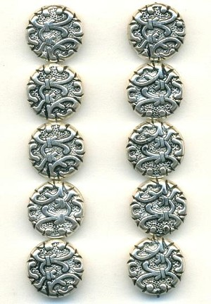 14mm Antique Silver Plastic Beads
