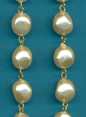 14x12mm Off White Baroque Pearl Chain