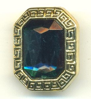 25x20mm AG Oct Button W/ Emerald RS