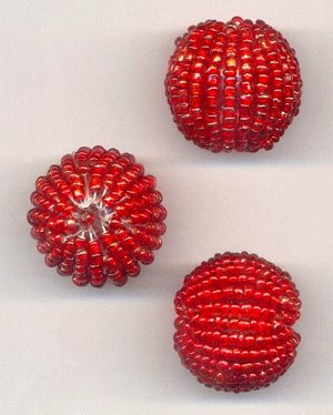 20x21mm Red Seed Bead Wrapped Beads
