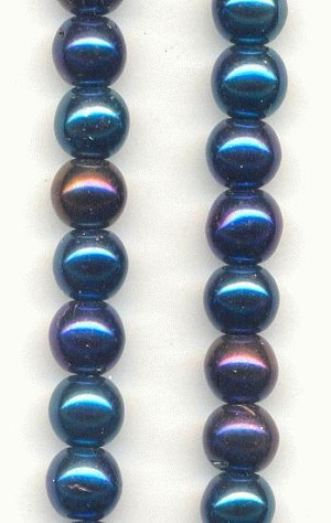 6mm Opaque Blue Vitrail Glass Beads