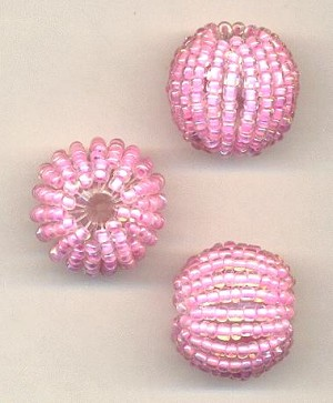 20mm Pink Wrapped Beads
