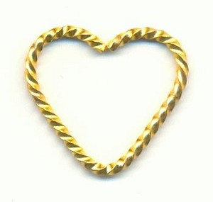 21x20mm Twisted Brass Heart Wire