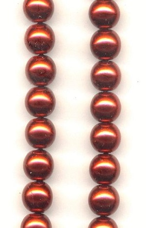 6mm Brick Red Pearl Glass Beads
