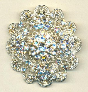 53mm Silver/Crystal Brooch Finding