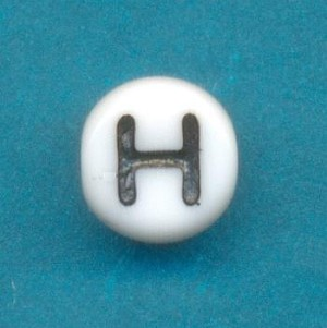 6mm White Glass H Beads