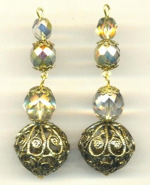 2 1/2'' Glass/Filigree Bead Drops
