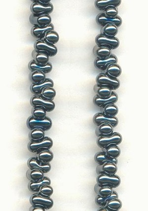 2x4mm Steel Grey Czech Peanut Beads