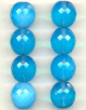 17mm Blue Opal Glass Faceted Beads