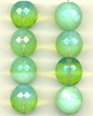 17.5mm Green Opal Glass Faceted Beads