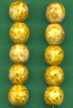 14.5mm Brown/Yellow Luster Beads