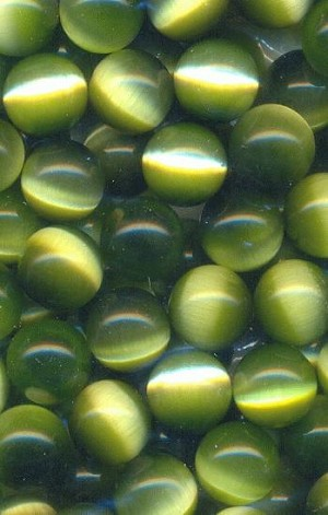 10mm Green Cats Eye No Hole Beads