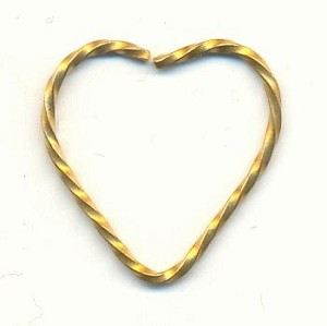 21x21mm Twisted Brass Wire Hearts