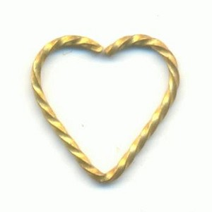 10.5x10.6mm Twisted Brass Heart Wire