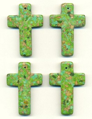 58x40mm Green Mosaic Turquoise Cross