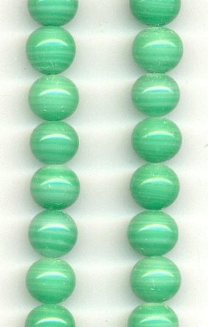 10mm Light Jade Pressed Glass Beads