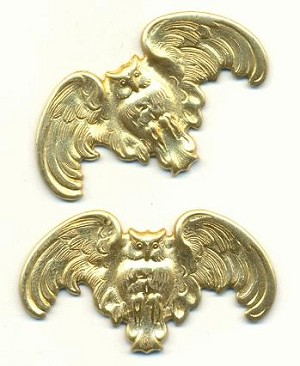 20x35.75mm Brass Owl Stampings