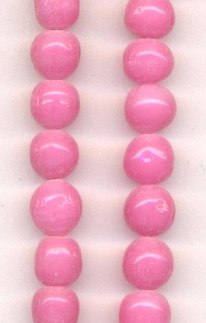 8mm Baroque Opaque Pink Glass Beads